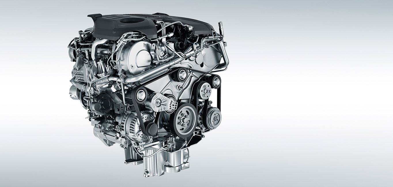 the engine of the F-PACE SVR on a light-grey background